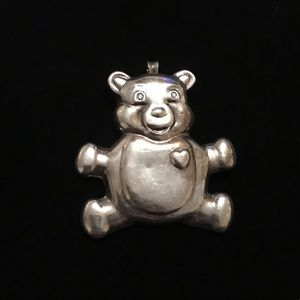 "925 silver beautiful teddy bear necklace Sz 2""/2"""
